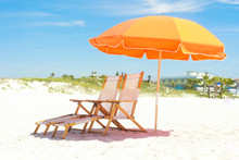 Orange Beach Chairs And Shelter