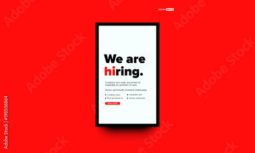 Valokuvatapetti We're Hiring Typography with Hi Standing Out Poster Concept Template Text Box De