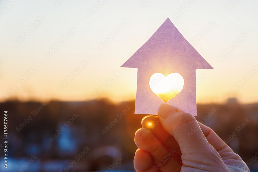 Fototapety, obrazy: House with a carved heart on of sunrise.