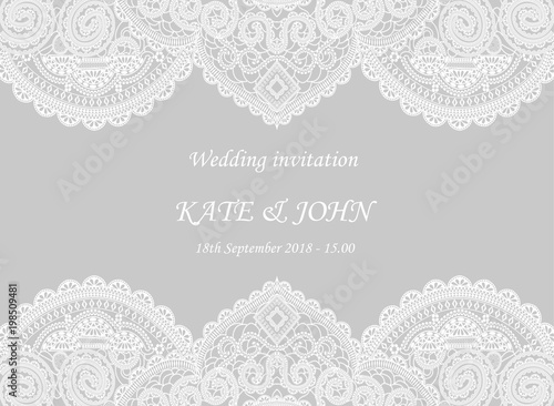 Vászonkép wedding invitation with lace