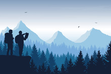Tourist, Man And Woman With Backpacks And A Map Looking For A Trip In A Mountain Landscape With Forest, Trees And Flying Birds Under The Sky With Clouds