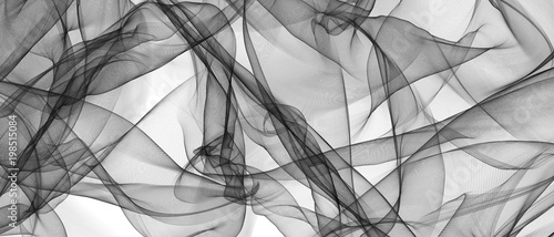 Door stickers Fractal waves Abstract smooth gray wave. gray transparent waved lines