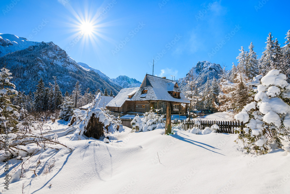 Fototapety, obrazy: Small wooden house in winter landscape near Morskie Oko lake with sun on blue sky, Tatra Mountains, Poland