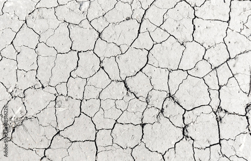 Fotografía White dried and cracked ground earth background, Close up of dry fissure ground,