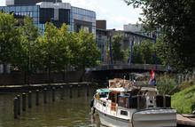 Boats Mooring In River Vecht And The Little Sluice, Called Weerd Sluis
