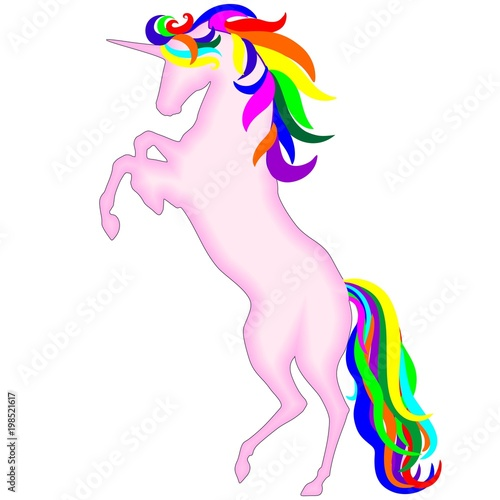 Deurstickers Draw Pink Unicorn Rainbow Soul