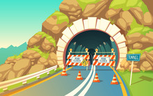 Vector Cartoon Illustration Of Roadwork In Tunnel, Highway. Repair Signs, Roadblock, Detour, Traffic Cones, Underground, Grey Asphalt With Road Marking, Connector Inside The Mountain.