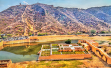 Aerial View Of Kesar Kyari Or Saffron Garden On Maota Lake. Amer - Jaipur, India