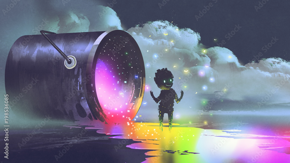 Fototapeta fantasy illustration showing a big bucket lying on surface and a cute creature standing on puddle of colorful paint, digital art style