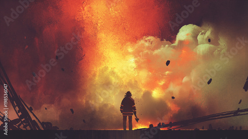 Spoed Foto op Canvas Grandfailure brave firefighter with axe standing in front of frightening explosion, digital art style, illustration painting
