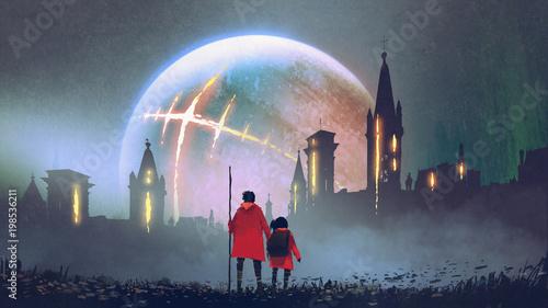 nocna sceneria mężczyzny i jego córki patrzących na tajemnicze zamki na tle świecącej planety, styl sztuki cyfrowej, malarstwo ilustracyjne