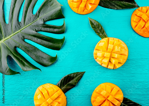 Creative layout made of summer tropical fruits mango and tropical leaves on turquoise background. Flat lay. Food concept. Tropical concept
