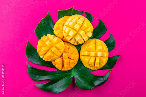 Spoed Foto op Canvas Roze Creative layout made of summer tropical fruits mango and tropical leaves on pink background. Flat lay. Tropical food concept.