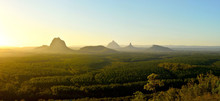 Panoramic View Of Glass House Mountains At Sunset In Queensland, Australia.