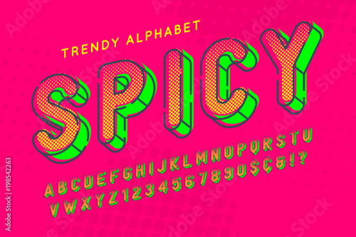 Stampa su Tela Condensed display font popart design, alphabet, letters and numb