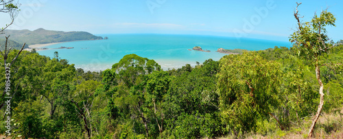 Panoramic view of Cape Hillsborough with Wedge Island and reef in Cape Hillsborough National Park in Australia Canvas Print