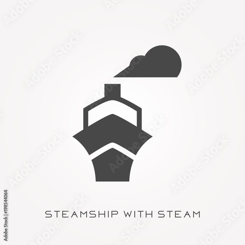 Photo Silhouette icon steamship with steam