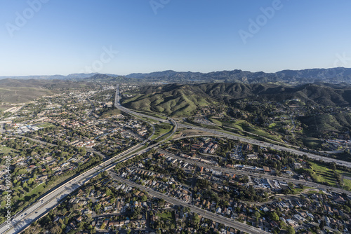 Aerial view of route 101 and 23 freeways and Westlake Blvd in suburban Thousand Oaks near Los Angeles, California Canvas Print