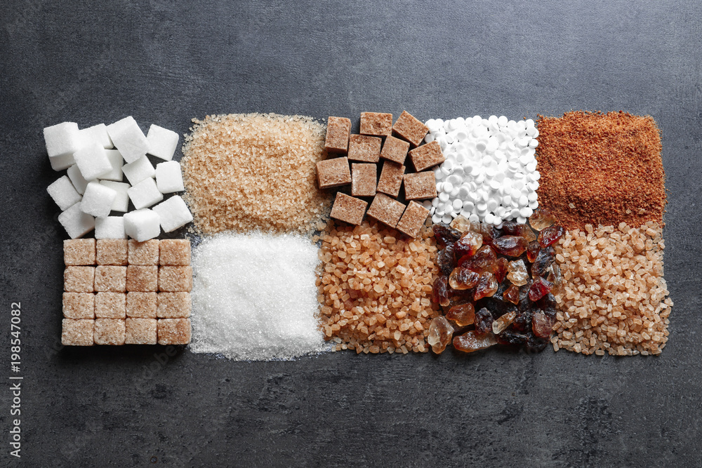 Fototapety, obrazy: Flat lay composition with different types of sugar on gray background