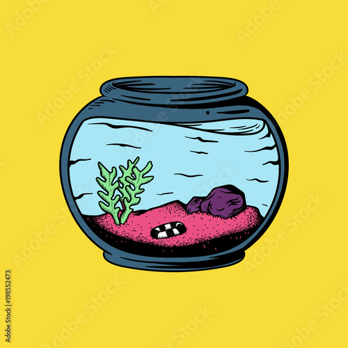 Fototapeta Empty aquarium with plants and no fish illustration