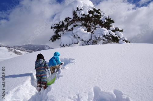 Fototapeta  雪をかき分けて前進する子供たち