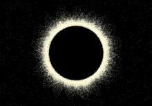 Space Landscape With Scenic View On Solar Eclipse Made With Retro Dotwork Style