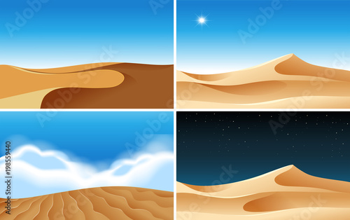 Photo Four background scenes of deserts at different times