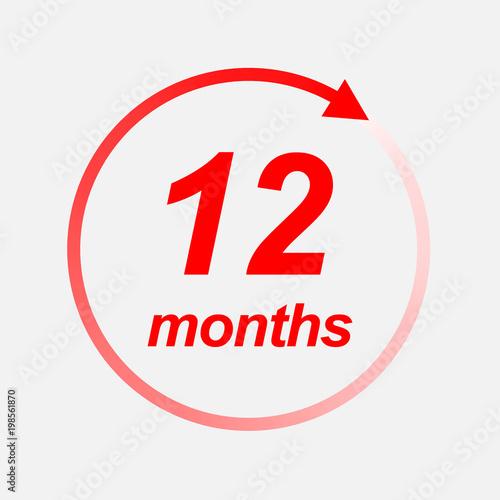 Fotografia  12 months vector icon