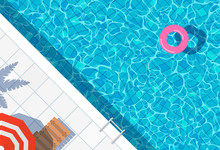Swimming Pool Top View Background. Water Ring Umbrella Lounger