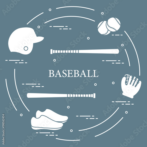 Photo  Baseball bats, glove, balls, helmet, shoes.
