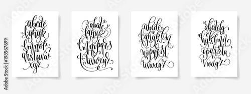 Obraz set of four black and white hand lettering alphabet design poste - fototapety do salonu