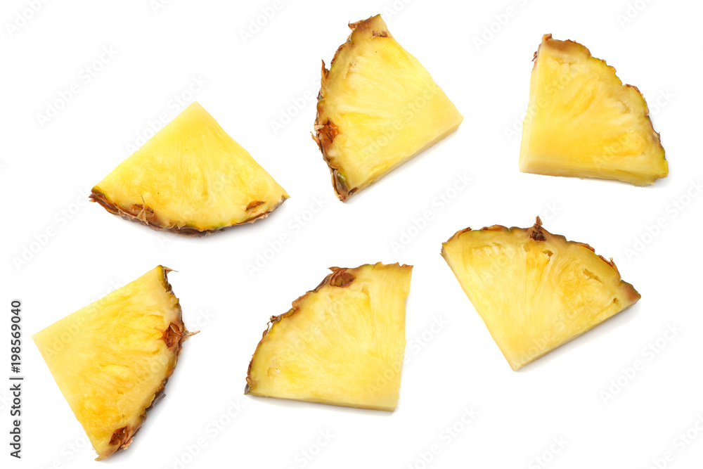 Fototapeta healthy background. pineapple slices isolated on white background top view