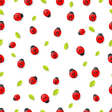 Red Ladybugs And Leaves Seamless Pattern Isolated On White Background. Vector Illustration