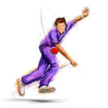 Bowler Bowling In Cricket Cham...