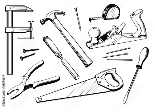 Vector Set Of Joiner S Tools Black And White Elements For