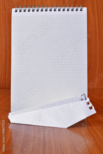 Ell Notebook With Rings Empty Paper Sheet For Note Stands On The