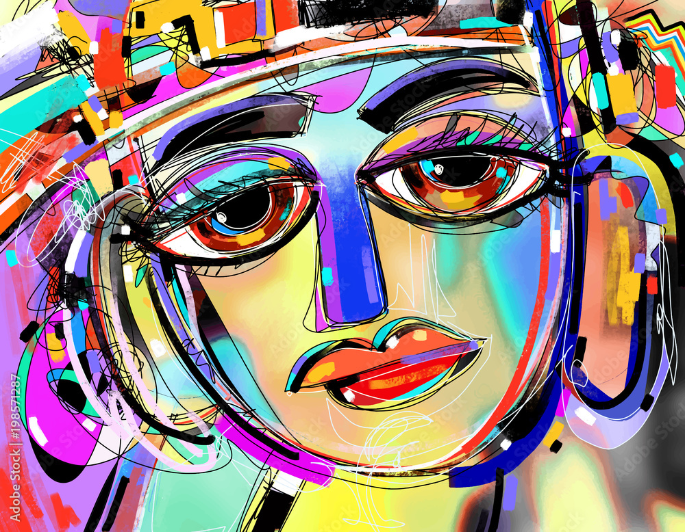 Fototapeta original abstract digital painting of human face, colorful compo