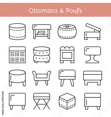 Stampa su Tela Ottomans & Poufs. Accent stools. Vector icon set.