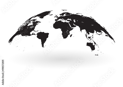 Fotografie, Obraz  Black world map globe isolated on white background