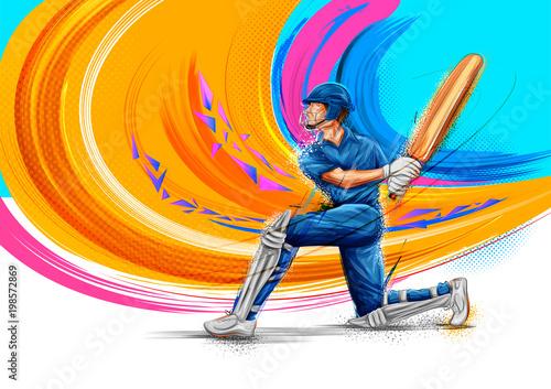 Fotografiet  Batsman playing cricket championship sports