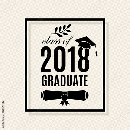 Class of 2018 graduation poster with hat scroll and laurel on class of 2018 graduation poster with hat scroll and laurel on seamless triangle background for stopboris Gallery