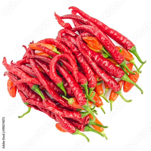 Staande foto Hot chili peppers Top view of red hot chili peppers isolated on a white