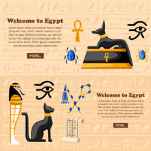 Travel Concept. Welcome To Egypt Poster. Ancient Egyptian Symbols And Decoration Egypt Flat Icons Vector Illustration On Hieroglyphs Texture Background. Web Site Page And Mobile App Design