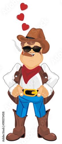 Fotobehang Boerderij cowboy, shepherd, ranch, man, police, sheriff, thief, robber, hat, ranch, farm, Texas, illustration, cartoon, smoke, in love
