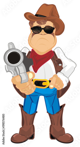 Fotobehang Boerderij cowboy, shepherd, ranch, man, police, sheriff, thief, robber, hat, ranch, farm, Texas, evil, gun, illustration, cartoon,