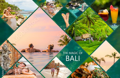 Poster de jardin Lieu connus d Asie Collage of photos from beautiful Bali island in Indonesia