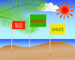 Summer shopping poster. Sale discount banner with seascape, sun, palm leaves and flags with lettering Hello summer sales