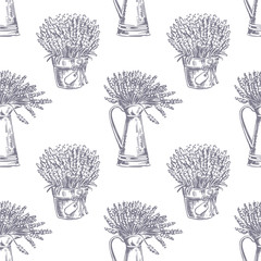 FototapetaVector Seamless pattern. Lavender theme of Provence. Pattern with graphic lavender flowers in pot. Digital drawn illustration in lilac color. Vintage pattern of lavender flowers isolated on white.
