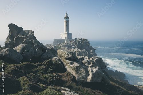 Montage in der Fensternische Leuchtturm Lighthouse of Punta Nariga. Malpica, La Coruna, Spain