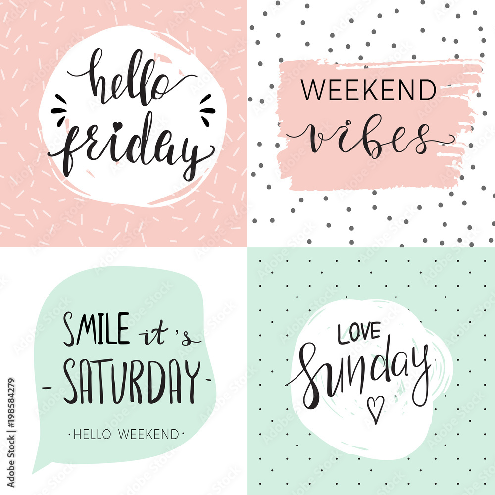 Fototapety, obrazy: Set of four templates with quotes about weekend
